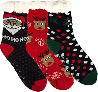 3 Pairs Pairs Sherpa Lined Home Knit Winter Cozy Slipper Christmas Socks