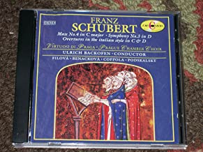 Schubert: Mass No. 4 in C, D.452; Symphony No. 3 in D, D.200; Overtures in the Italic Style in C, D.951, and D, D.590.