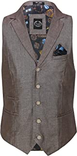 Xposed Mens Linen Blazer Cotton Blend Retro Vintage Smart Waistcoat[CWC-6-BROWN-46,Earth Brown, UK/US 46 EU 56]