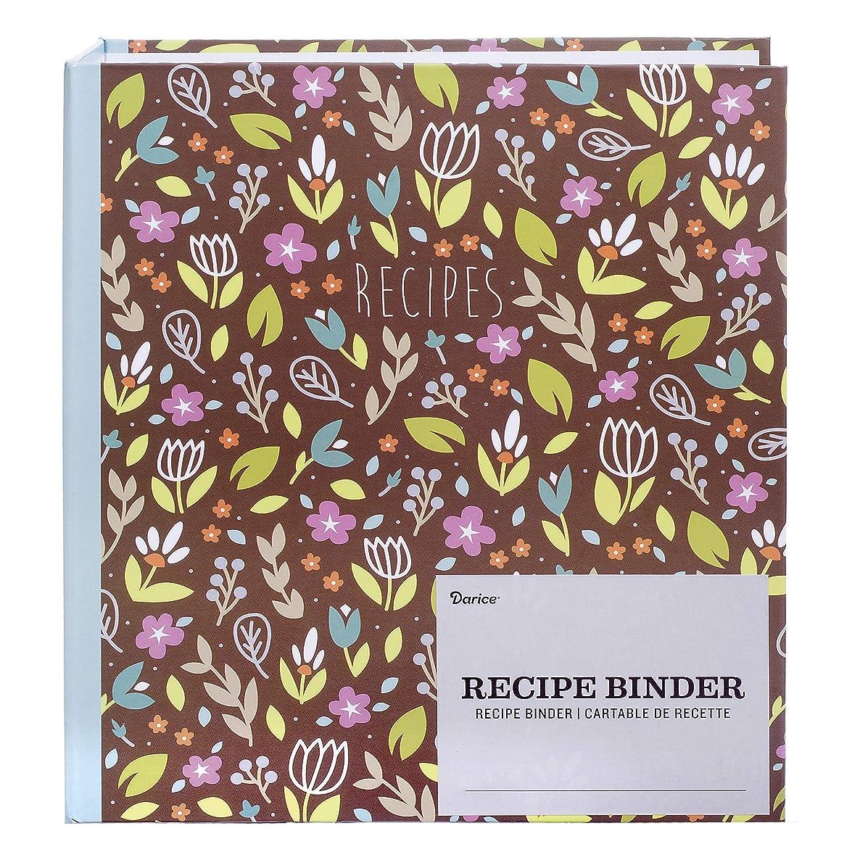 Darice 30041316 Set: Floral Theme, 46 Pieces Recipe Binder