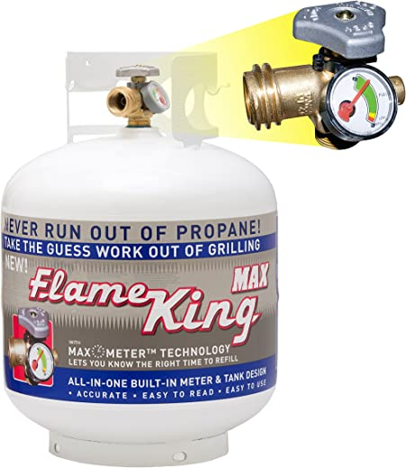 Flame King YSN230b 20 Pound Steel Propane Tank Cylinder with OPD Valve and Built-in Gauge, 20 lb Vertical