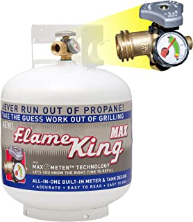 Flame King YSN230a 20 lb Steel Propane Tank Cylinder with Overflow Protection Device Valve & Built-in Gauge, Great for Grills & BBQs