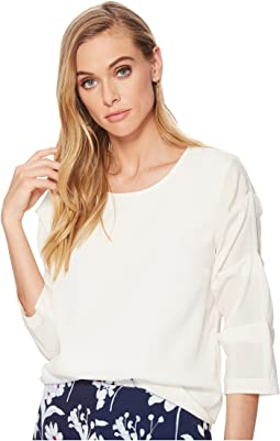 Crew Neck Pintuck Sleeve Blouse