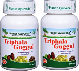 Planet Ayurvda Triphala Guggul - Herbal Tablets, 100% Natural and Pure - 2 Bottles(Each Bottle contains 120 tablets)