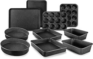 GRANITESTONE 10 PC Baking Pans Nonstick, Muffin, Round, Square, Loaf and Flat Sheet As Seen On TV
