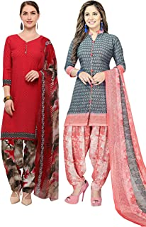 Rajnandini Women's Red and Grey Crepe Printed Unstitched Salwar Suit Material (Combo Of 2) (Free Size)