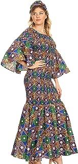Sakkas Zarah Women's African Ankara Body-con Off Shoulder Mermaid Pocket Dress