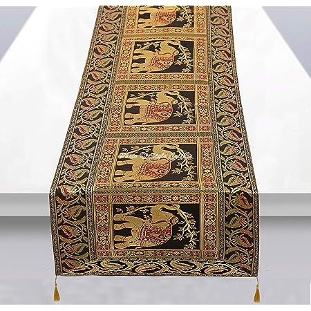 Stylo Culture Chemin de Table Traditionnel pour Table Basse en Jacquard de Brocart Noir et Satin avec des Glands d'éléphant de Bohême à la décoration Florale très Longue, avec Un décor Indien