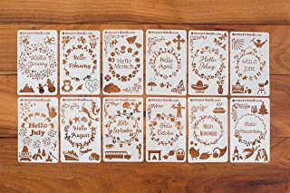 BULLETstencils Hello Months of The Year Set - Featuring 12 Journal Stencils: Includes Fun Themes, Words & Borders for Every Month of The Year!