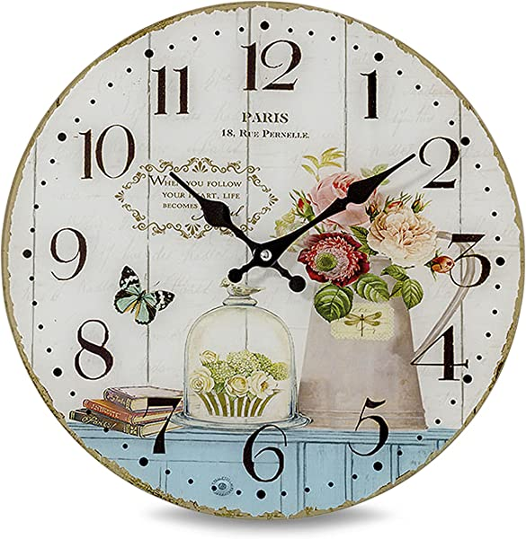 WHW Whole House Worlds Paris Kitchen Clock Glass Antique Vintage Cafe Style Over 1 Ft In Diameter Analog Timepiece Battery Powered 1 AA Required
