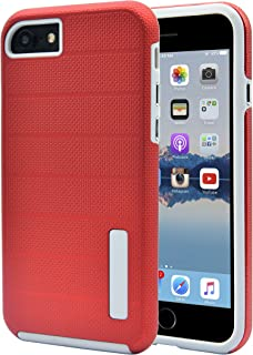 AlphaCell Case, Compatible with Apple iPhone 8/iPhone 7 | Non-Slip Grip Protection | Hard Durable Bumper | Scratch Resistant Silicone | Dual Layer Slim Protective Cover | Red