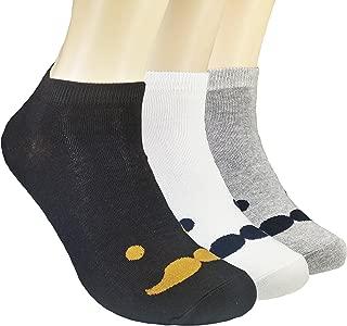 JJMaxUS Men's Mr. Mustache Cartoon Tophat Cotton Blend Ankle Socks One Size (3 Pair Set