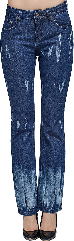 Camii Mia Women's Tiedye Denim Pants Mid Rise Flared Jeans