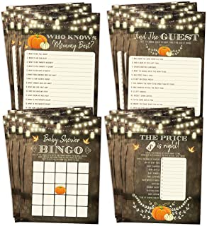 Fall Pumpkin Baby Shower Games, Neutral Yellow Bingo, Find The Guest, The Price Is Right, Who Knows Mommy Best, 25 games each