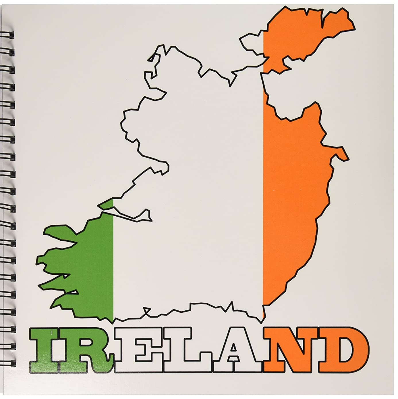 3dRose db_63165_2 The Flag of Republic of Ireland in The Outline Map of The Country and Name, Ireland Memory Book, 12 by 12-Inch