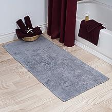 Cotton Bath Mat- Plush 100 Percent Cotton 24x60 Long Bathroom Runner- Reversible, Soft, Absorbent, and Machine Washable Ru...