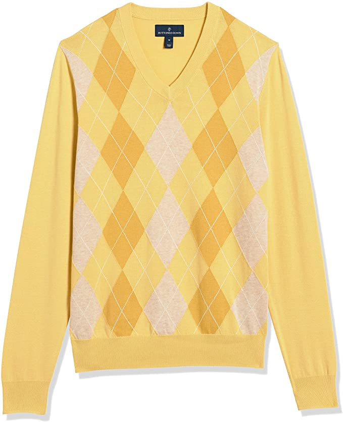 1960s Mens Shirts | 60s Mod Shirts, Hippie Shirts Buttoned Down Mens 100% Supima Cotton V-Neck Sweater  AT vintagedancer.com