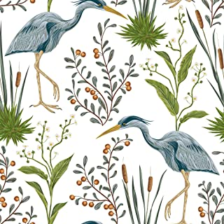 WallsByMe Peel and Stick Blue Bird Animal Fabric Removable Wallpaper 9623-2ft x 4ft (61x122cm)