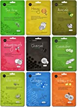 Celavi Essence Facial Face Mask Paper Sheet Korea Skin Care Moisturizing 9 Pack (Mix of 9)