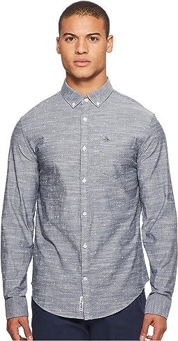 Original Penguin - Long Sleeve Polka Dot Lemon Print on Stretch Shirt