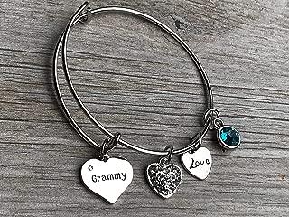 Personalized Grammy Birthstone Charm Bangle Bracelet,Custom Grammy Jewelry, Mothers Day Jewelry, Gift for Her
