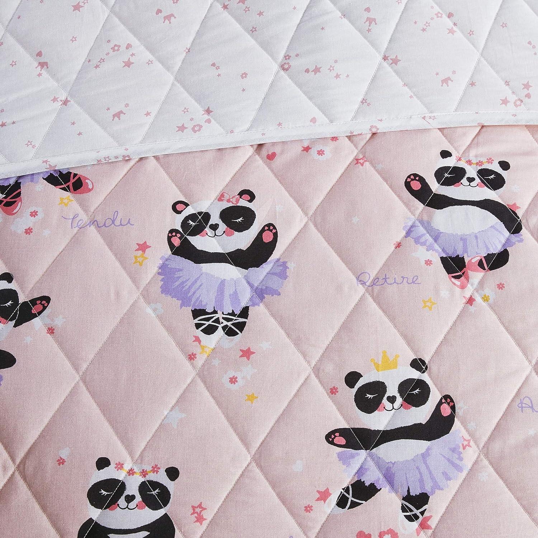 Blush 5 Piece Urban Habitat Kids Piper Reversible 100/% Cotton Quilt Full//Queen Novel Animal Print Ballerina Dancing Panda All Season Down Alternative Bed Set for Kids 88x88 Decorative Pillows