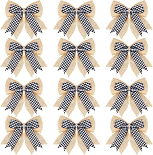 12 Pieces Christmas Burlap Plaid Bows Double Layer Plaid Wreath Bows Christmas Tree Buffalo Plaid Check Bows Christmas Decorative Bows for Christmas Home Decoration, 4.8 x 4.8 Inches (White and Black)