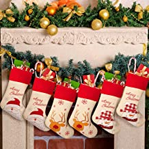 6 Pieces Christmas Stocking Decoration Sets Large Christmas Stocking Classic Embroidered Santa Snowman Reindeer Christmas ...