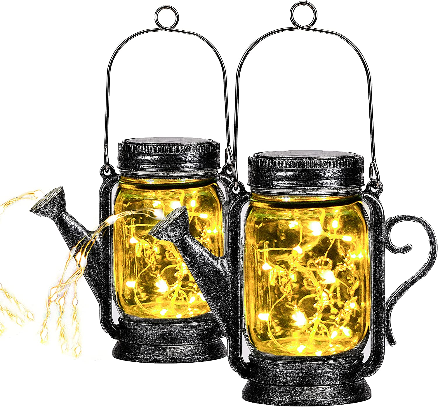 2 Pack Yeuago Outdoor Hanging Solar Lanterns Mason Jar Solar Lights, Solar Powered Warm Lights with 45 Led String Lights for Patio Yard Walkway Garden Decorations - Waterproof Jars and Lids Included