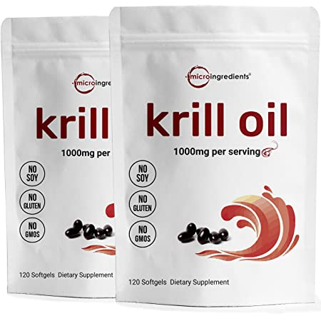 2 Pack Antarctic Krill Oil Supplement, 1000mg Per Serving, 120 Soft-Gels Each, Rich in Omega-3s, EPA, DHA & Astaxanthin, Supports Brain Health, Premium Krill Oil Capsules Liquid Softgels