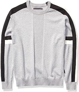 Sean John Men's Moto Stiped Sleeve Crew Neck Sweater
