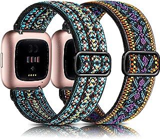 GEAK Elastic Loop Compatible with Fitbit Versa Bnads for Women Men, 2 Pack Soft Nylon Adjustable Elastic Replacement Wristband for Fitbit Versa 2/Versa Lite Smart Watch Ethnic Purple/Embroidery Blue