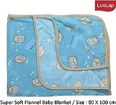 LuvLap Soft Flannel Baby Blanket, 80cm x 100cm, Sky Blue Bear