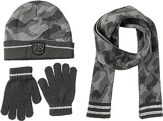 [AQUA] 帽子&围巾&手套 [accsa] 帽子 针织帽(无袖)・智能手机手套・围巾 儿童用 冬季3件套 智能手机可操作 灰色迷彩图案 (11-13岁) 儿童 灰色迷彩 US 岁 (Free 尺寸)