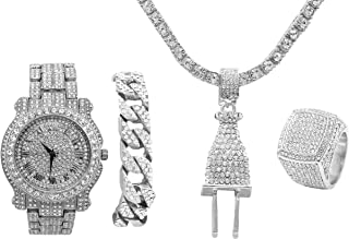 Bling Bling Plug Hip Hop Pendant - Iced Out Luxury Watch Cuban Bracelet and Ring Gift Set - Shine Like a Celebrity - L0504Slv4