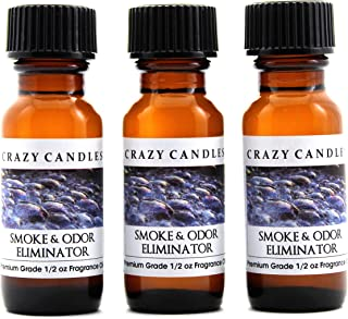 Crazy Candles Smoke and Odor Eliminator 3 Bottles 1/2 FL Oz Each (15ml) Premium Grade Scented Fragrance Oil