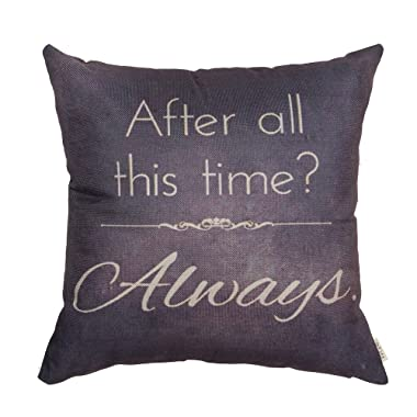 Fjfz Retro Vintage After All This Time Always Motivational Sign Inspirational Quote Cotton Linen Home Decorative Throw Pillow Case Cushion Cover for Sofa Couch, Gray Brown,18  x 18