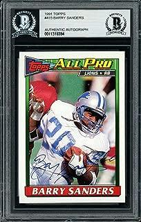 Barry Sanders Autographed 1991 Topps Card #415 Detroit Lions Beckett BAS #11318394 - Beckett Authentication