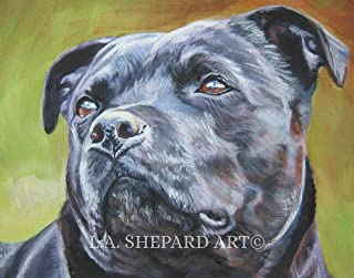 A Staffordshire Bull Terrier dog art portrait print of an LA Shepard painting 8x10