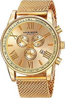 Swiss Chronograph Men's Watch - 3 Subdials with Date Window Sunburst Dial On Stainless Steel Mesh Strap - AK813