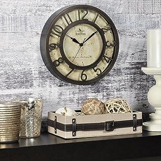 FirsTime & Co. Relógio de parede com números elevados, feito nos EUA, bronze polido a óleo, 20 x 5 x 20 cm, (00151)