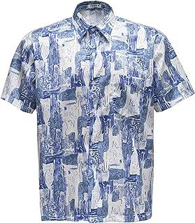 Thai Silk Men's Shirt Short Sleeve Quad Graphic Pattern