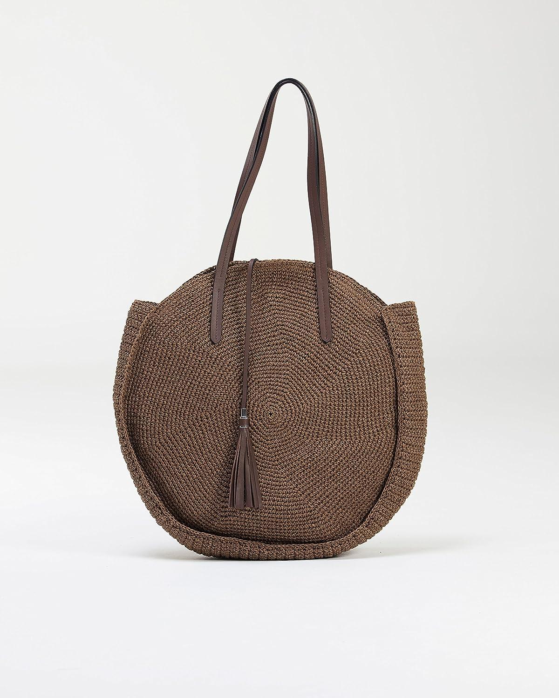 ASENA and ALEX Asena & Alex, Woven CircleTote Bag, Handmade, Unique Design (Brown)