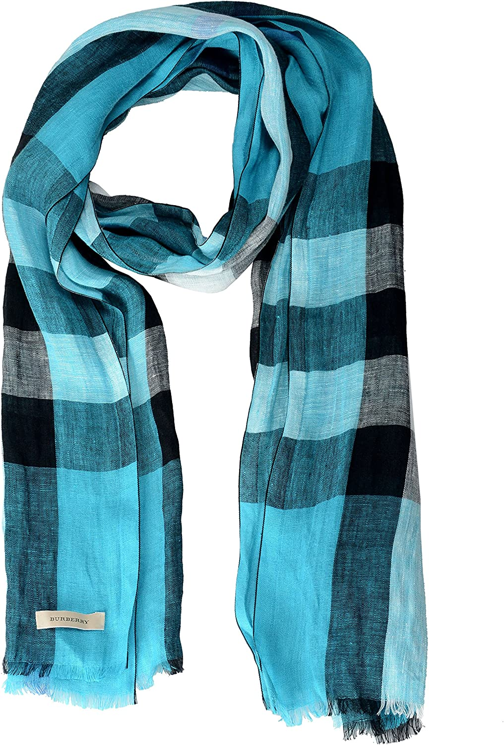 Burberry Unisex 100% Linen Plaid Multicolor Lightweight Scarf
