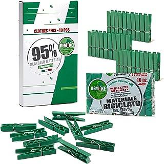 Remake 40 Piezas - Pinzas Ropa Ecológico 95% con Plastico Reciclado, Talla Grande. Fuertes y a Prueba de Viento. Made in I...