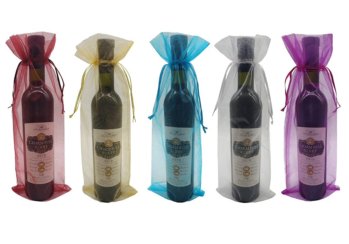 Ankirol 20pcs Sheer Organza Wine Bags 5.5x14.5 inch Reusable Simple Bottle Wrap Dresses Festive Packaging Baby Shower Wedding Favors Samples Display Drawstring Pouches (Multi)