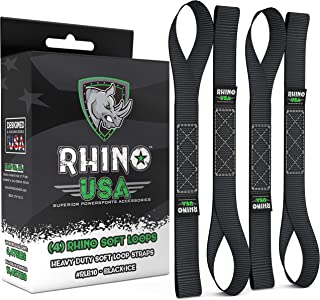 """RHINO USA Soft Loops Motorcycle Tie Down Straps (4pk) - 10,427lb Max Break Strength 1.7"""" x 17"""" Heavy Duty Tie Downs for use with Ratchet Strap - Secure Trailering of Motorcycles, Kayak, Jeep, ATV, UTV"""