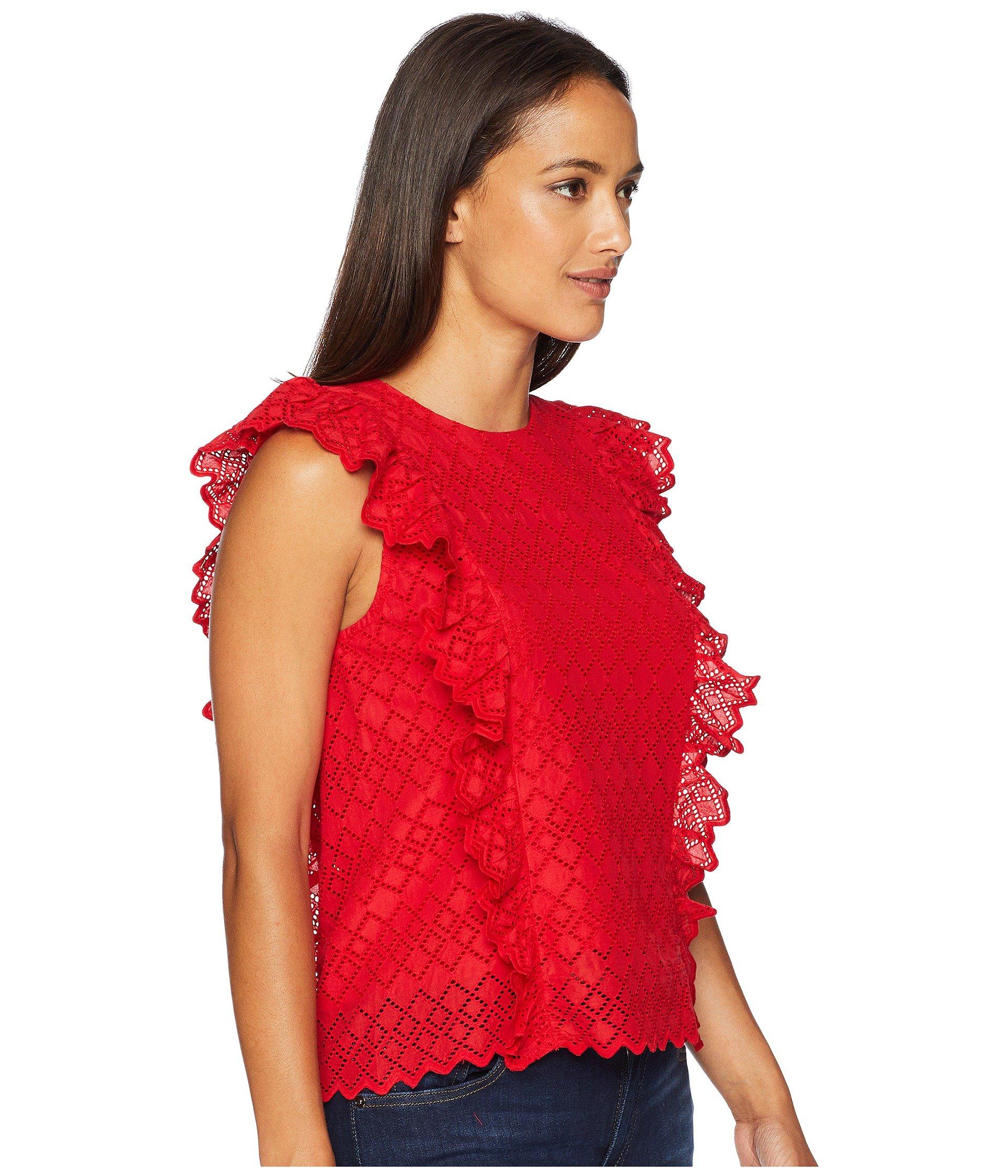 Red Top Ralph Lauren Eyelet Cotton Petite Ruffled Lipstick fTS0wZSq