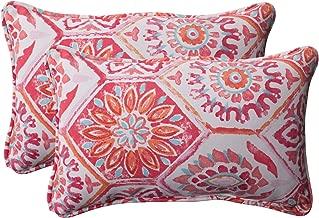 Pillow Perfect Outdoor Summer Breeze Corded Rectangular Throw Pillow, Flame, Set of 2