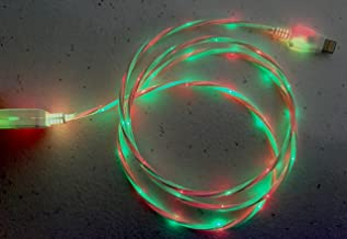 C&C Multi-color led light-up glow style power charger cord for iPhone 5,5s,5c,6,6plus, for iPad 3,4,for air 1,2, for mini 1,2,3, for nano 7, for touch 5 (Red & Green)